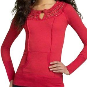 Free People Red Hooded Thermal Pullover Sweater - XS